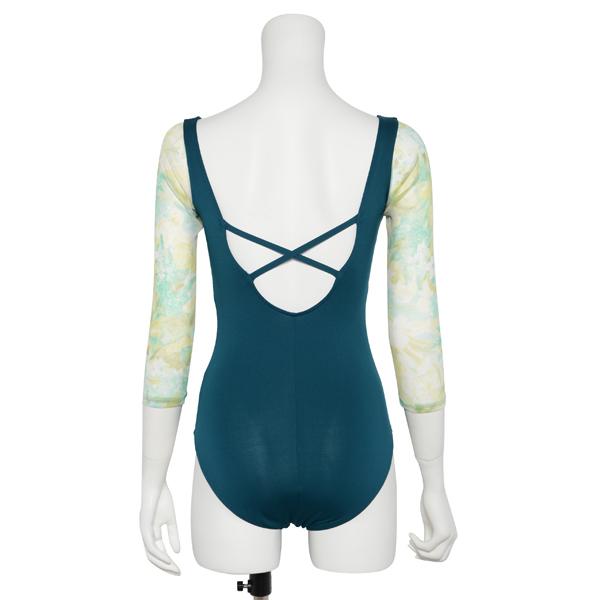 Photo1: Womens Leotard, 'SILAN'  Emerald green, Stretch net 3/4 sleeve, Cool & Dry, UPF50+ (1)