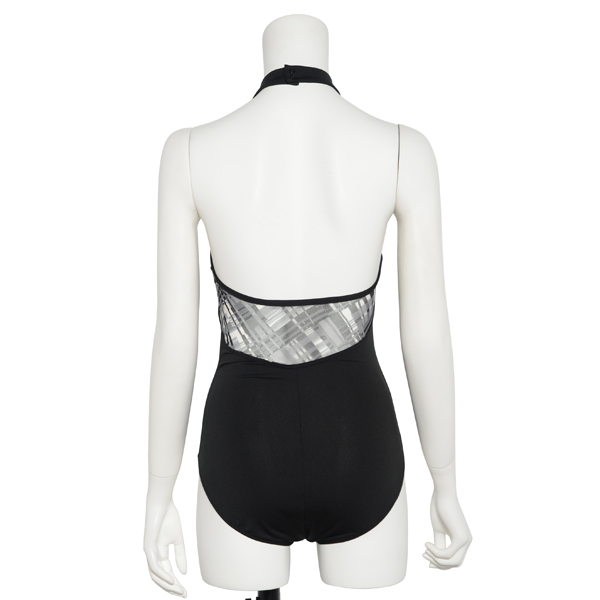 Photo1: Womens Leotard, 'AZUSA'  Black, Stretch net, Halter neck, Cool & Dry, UPF50+ (1)