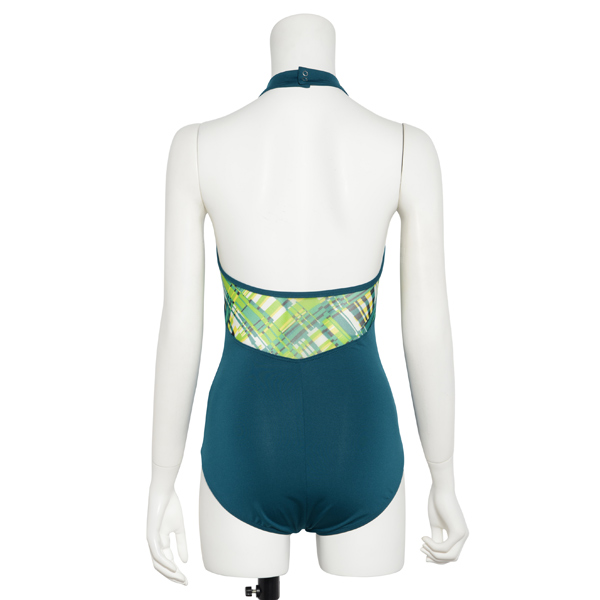 Photo1: Womens Leotard, 'AZUSA'  Emerald green, Stretch net, Halter neck, Cool & Dry, UPF50+ (1)