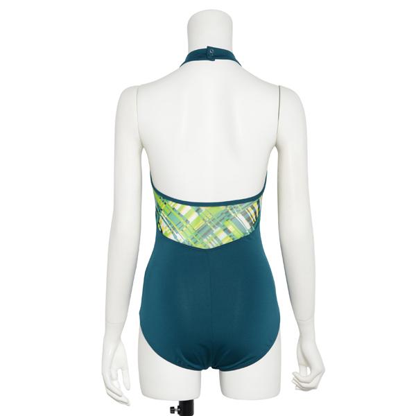 Photo1: Womens Leotard, 'AZUSA'  Emerald green, Stretch net, Halter neck, Cool & Dry, UPF50+ (1)