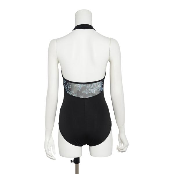 Photo1: Womens Leotard, 'TSUYUKUSA'  Black, Stretch net Halter neck, Cool & Dry, UPF50+ (1)