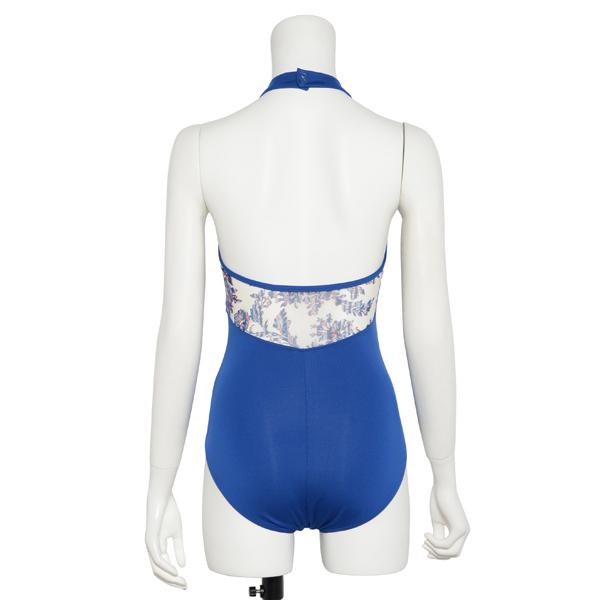 Photo1: Womens Leotard, 'TSUYUKUSA'  Royal blue, Stretch net, Halter neck, Cool & Dry, UPF50+ (1)