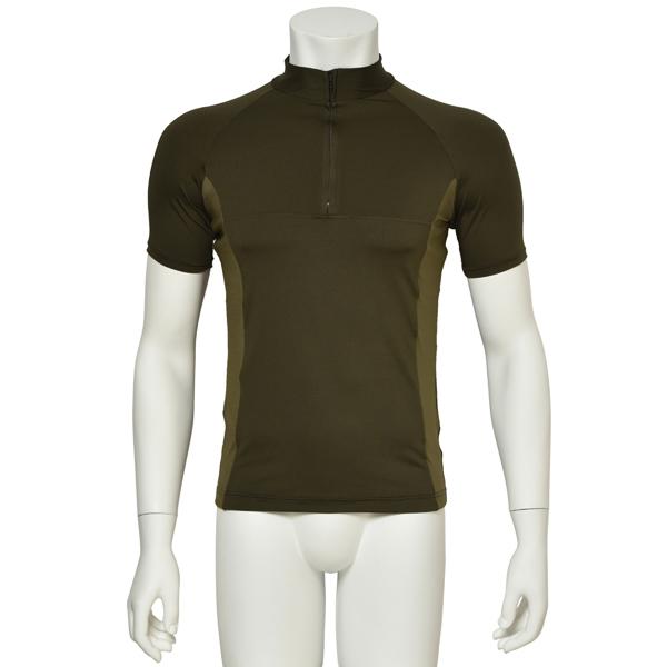 "Photo1: Mens Leotard, ""MUNAKATA"" Khaki, Fitted muscle zip-up T-shirts, Cool & Dry, UPF50+ (1)"