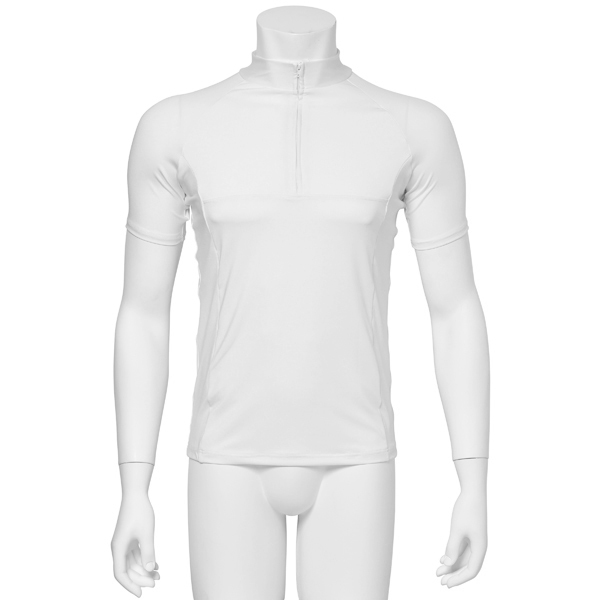 "Photo1: Mens Leotard, ""MUNAKATA"" White, Fitted muscle zip-up T-shirts, Cool & Dry, UPF50+ (1)"