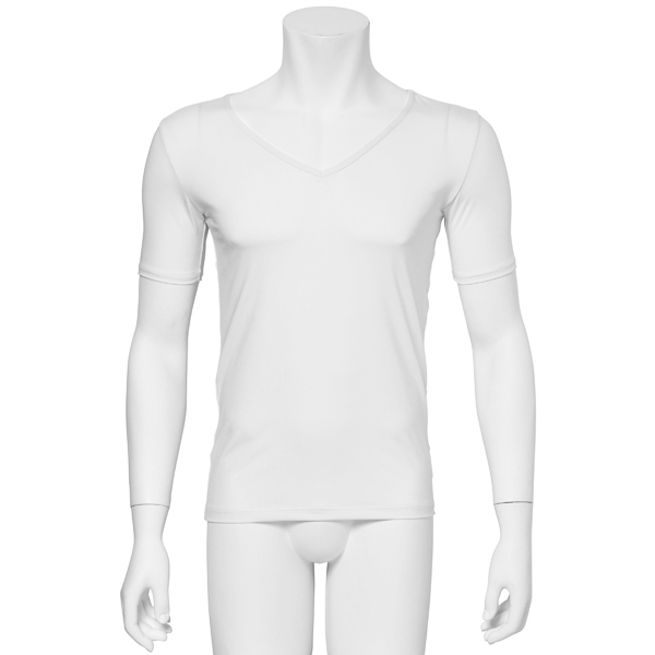 """Photo1: Mens Leotard, """"TOHDOH"""" White,  Fitted muscle T-shirts V-neck, Cool & Dry, UPF50+ (1)"""
