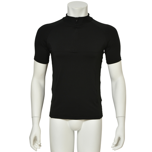 "Photo1: Mens Leotard, ""MUNAKATA"" Black, Fitted muscle zip-up T-shirts, Cool & Dry, UPF50+ (1)"