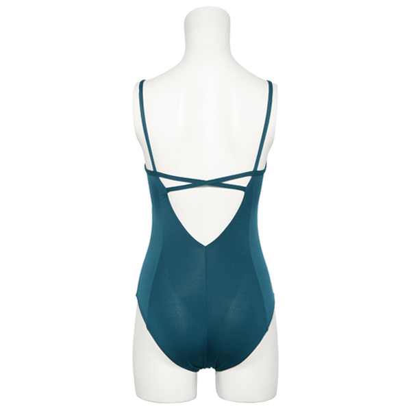 "Photo1: Womens Leotard, 'NOLICA'  Emerald green,  ""X"" cross on the back, Cool & Dry, UPF50+ (1)"
