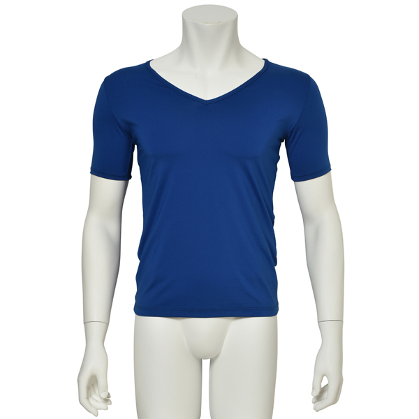 "Photo1: Mens Leotard, ""TOHDOH"" Royal blue,  Fitted muscle T-shirts V-neck, Cool & Dry, UPF50+ (1)"